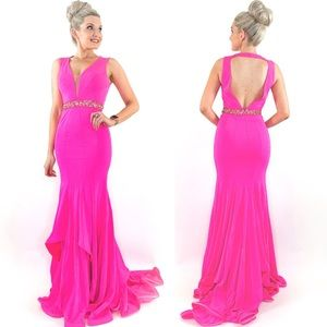 Pink Fitted Mermaid Prom Pageant Dress